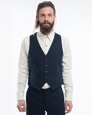 Navy Slub Cotton Vest - front