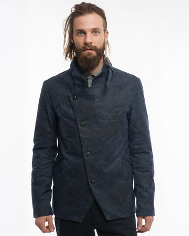 Navy Waxed Cotton Jacket - front