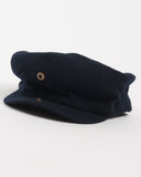 Navy Wool Cap - unbuttoned