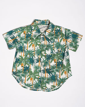 Cotton short sleeve white palms shirt