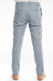 Blue Herringbone Linen Slim Suit Trouser Back