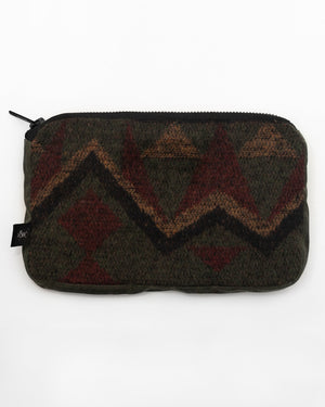 Pouch | Autumn Aztec/Olive Waxed Cotton