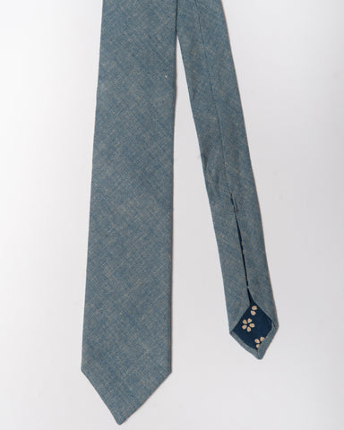 Cotton Blue Herringbone Linen Tie Front