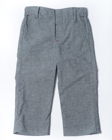 Pinstripe chambray slim trouser front