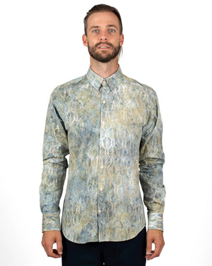 Blue Batik Printed Men's Shirts | Front