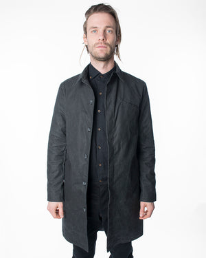 Mens Black Trench Coat | 18 Waits | Front | Open
