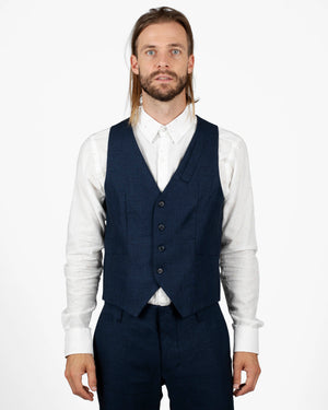 Vest | Navy French Linen