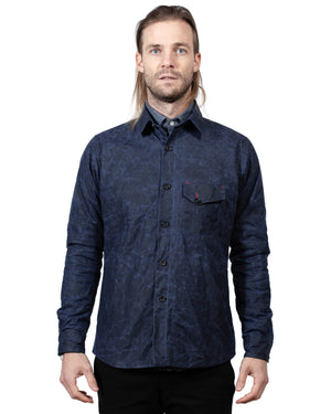 Mens Navy Jacket | 18 Waits | Front | Closed