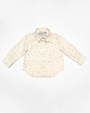 Long Sleeve Shirt | White Golden Flowers