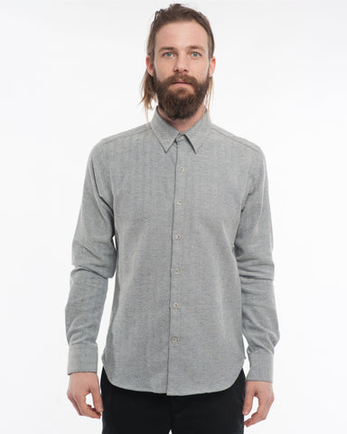 The Dylan Long Sleeve Shirt | White Herringbone