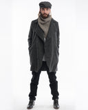 Grey Herringbone Wool Trench