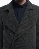 Grey Herringbone Wool Trench - detail