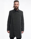 Grey Herringbone Wool Trench - front