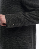 Grey Herringbone Wool Trench -side detail