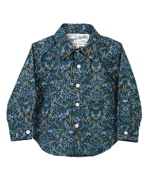 Kids Blue Floral Shirt | Hopper Hunter | Front