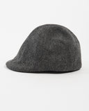 Kids Charcoal Herringbone Wool Cap - side