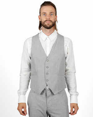 Vest | Light Grey Herringbone