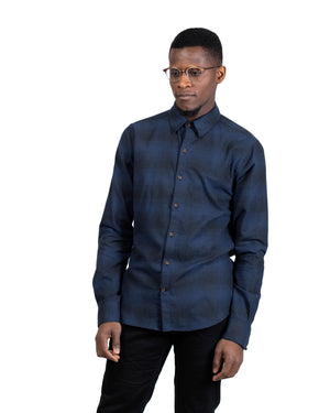 Dylan Shirt | Deep Marine Plaid