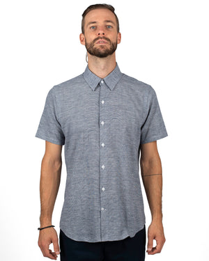 Men's short sleeve light blue linen blend shirt - front