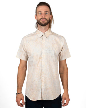 Short Sleeve Men's button up shirt | Natural batik pattern with leaves - front