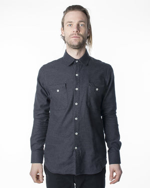 Dark Grey Button Up Shirt | 18 Waits | Front