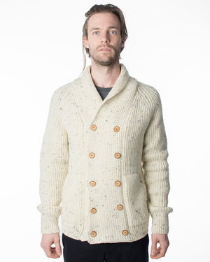 Double Breasted Cardigan | Cream Fleck Wool