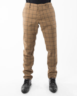 Mens Brown Trousers | 18 Waits | Front