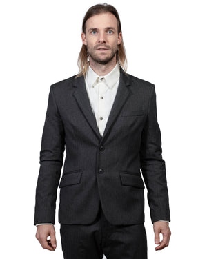 Mens Black Blazer | 18 Waits | Front | Closed