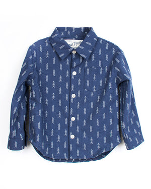 Kids Indigo Button Up Shirt | Hopper Hunter | Front