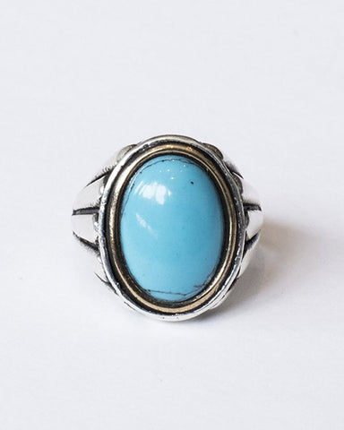 The Desert Blues Collection | Ribbed Ring in Turquoise