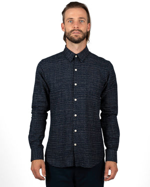 Indigo Cotton Men's Shirt with White Spots | front