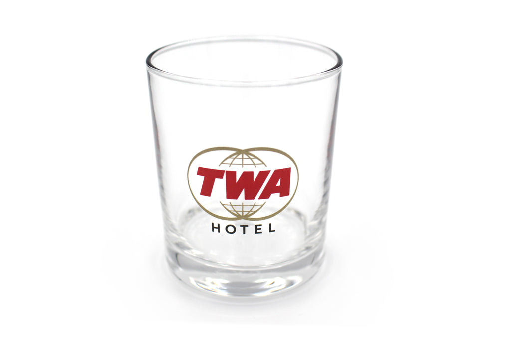TWA Twin Globes Logo Rocks Glass