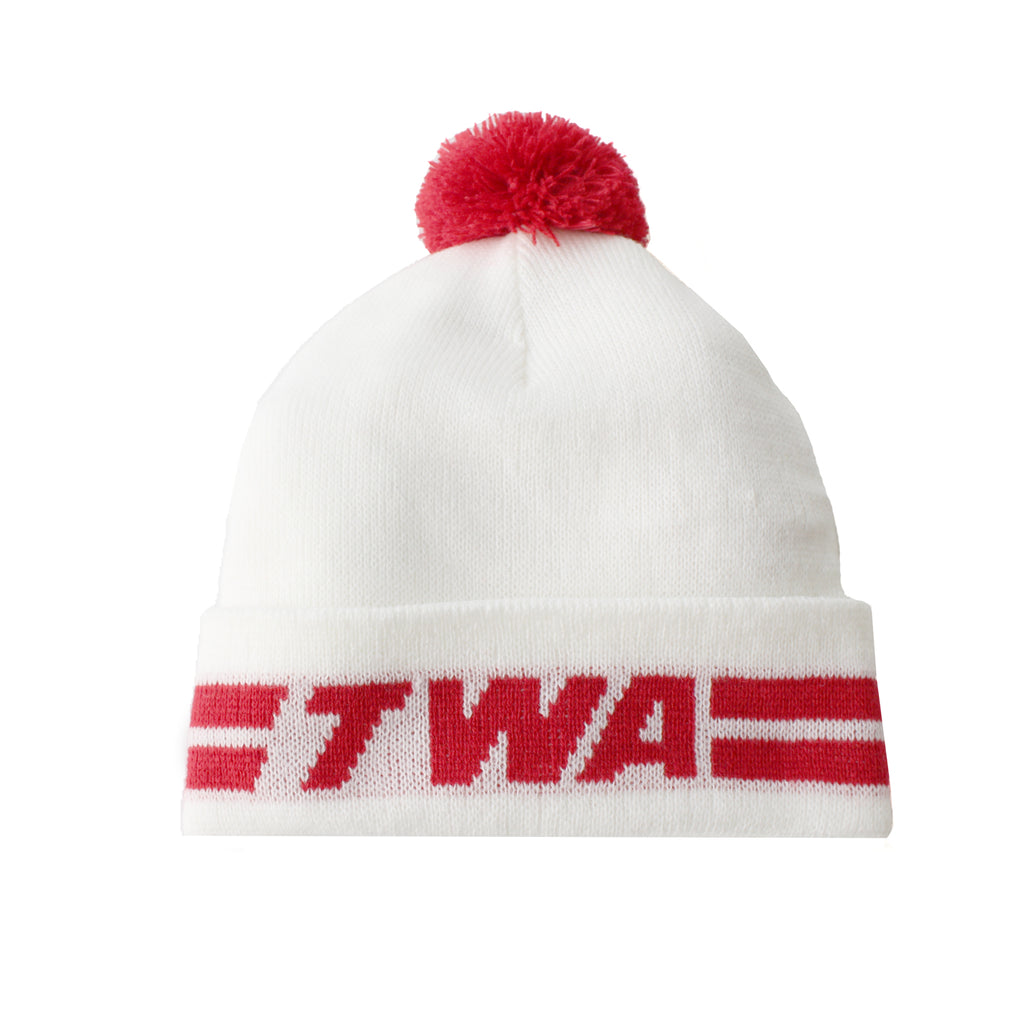 TWA White Beanie with Red Pom Pom