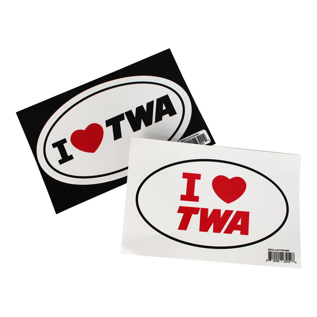 I Love TWA Decal Stickers