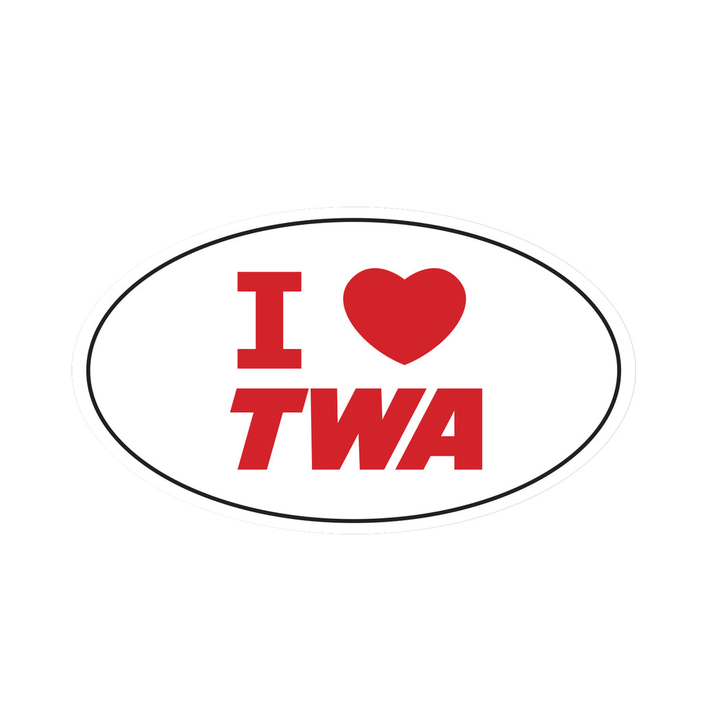 I love TWA decal sticker in red