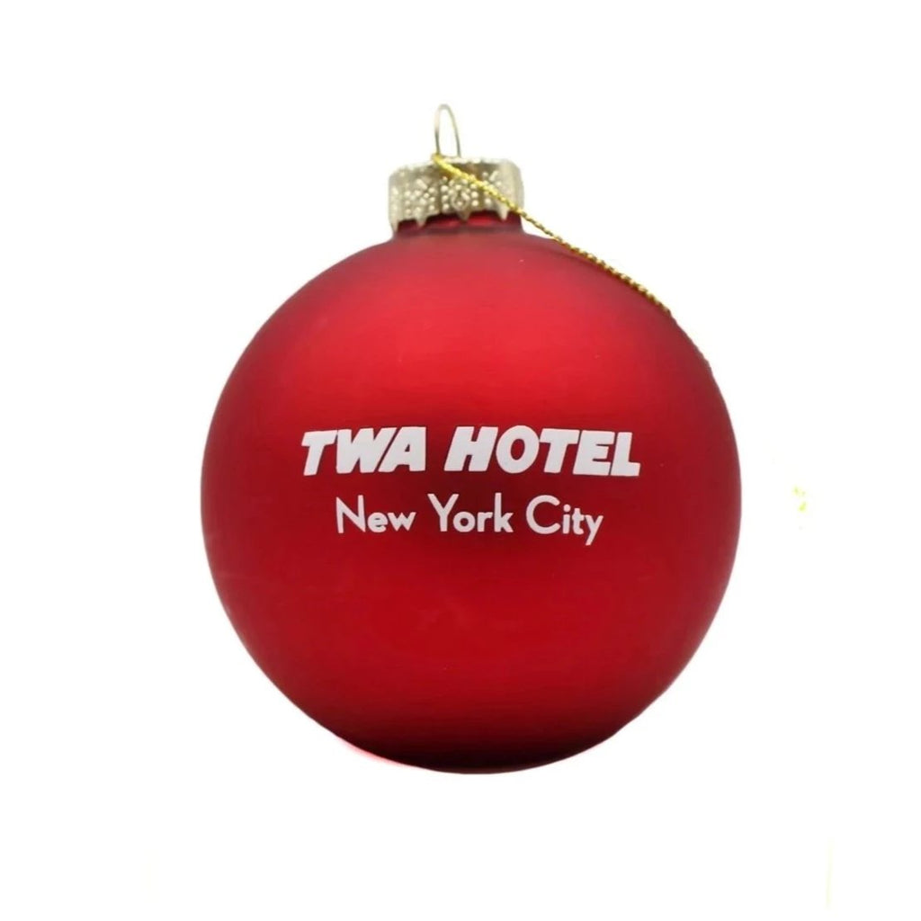 red twa glass ornament back
