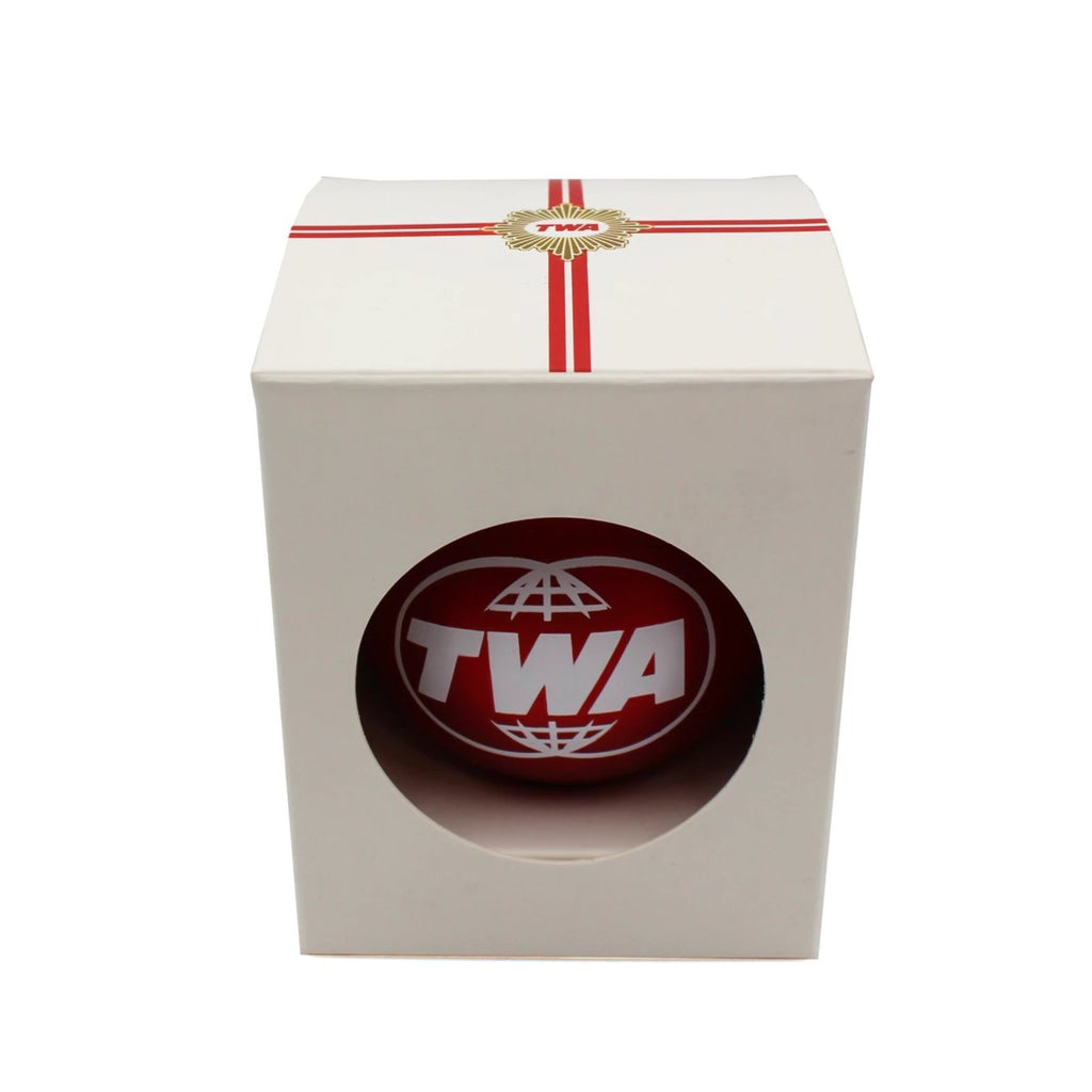 Red TWA glass ornament in gift box