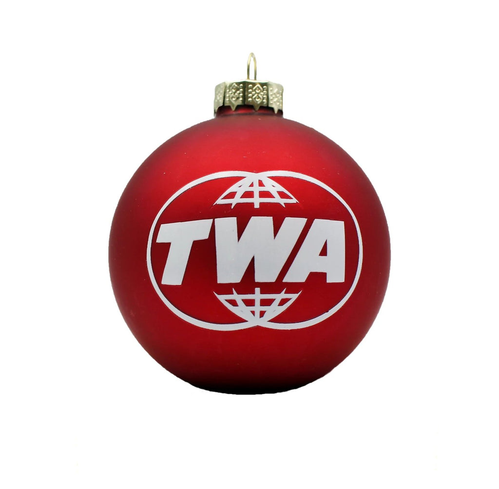 TWA Red Glass Ornament