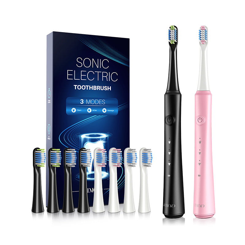 Sonic Electric Toothbrush, Rechargeable with 40000 VPM, Includes 8 Brush Heads-HP142A, Black&Pink