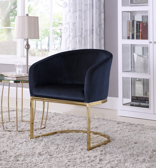 Iconic Home Siena Perrone Lippi Livorno Certaldo Shell Accent Chair Velvet Upholstered U-Shaped Gold Plated Solid Metal Base Black Main Image