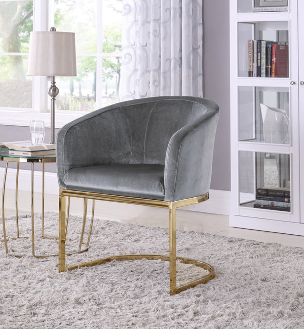 Iconic Home Siena Perrone Lippi Livorno Certaldo Shell Accent Chair Velvet Upholstered U-Shaped Gold Plated Solid Metal Base Grey Main Image