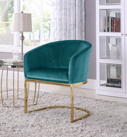Iconic Home Siena Perrone Lippi Livorno Certaldo Shell Accent Chair Velvet Upholstered U-Shaped Gold Plated Solid Metal Base Teal Main Image