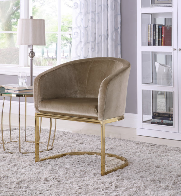 Iconic Home Siena Perrone Lippi Livorno Certaldo Shell Accent Chair Velvet Upholstered U-Shaped Gold Plated Solid Metal Base Taupe Main Image