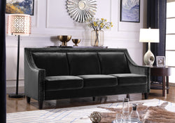 Iconic Home Camren Camero Kam Kameron Keros Sofa Velvet Upholstered Swood Arm Nailhead Trim Tapered Espresso Wood Legs Black Main Image