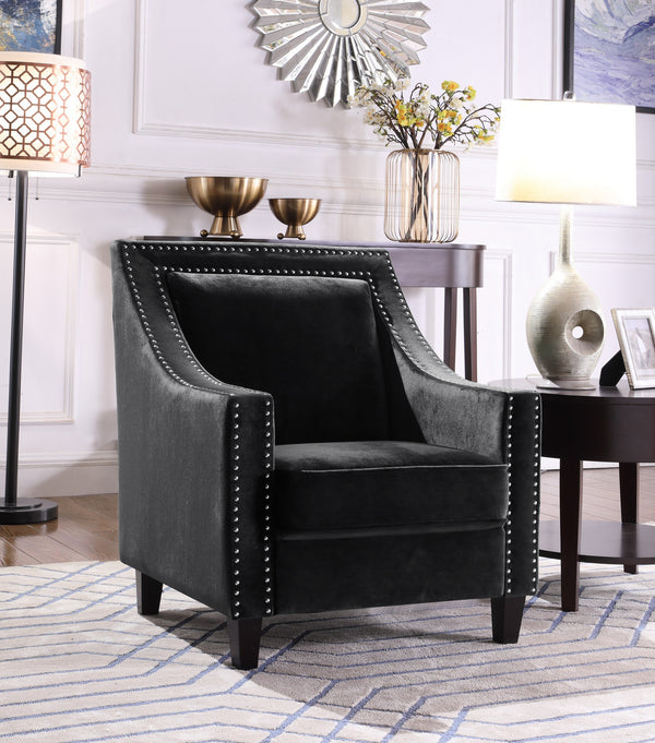 Iconic Home Camren Camero Kam Kameron Keros Accent Chair Velvet Upholstered Nailhead Trim Tapered Espresso Wood Legs Black Main Image