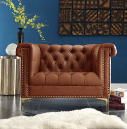 Iconic Home Winston Dwight MacArthur Patton Custer PU Leather Button Tufted Accent Club Chair Brown Main Image