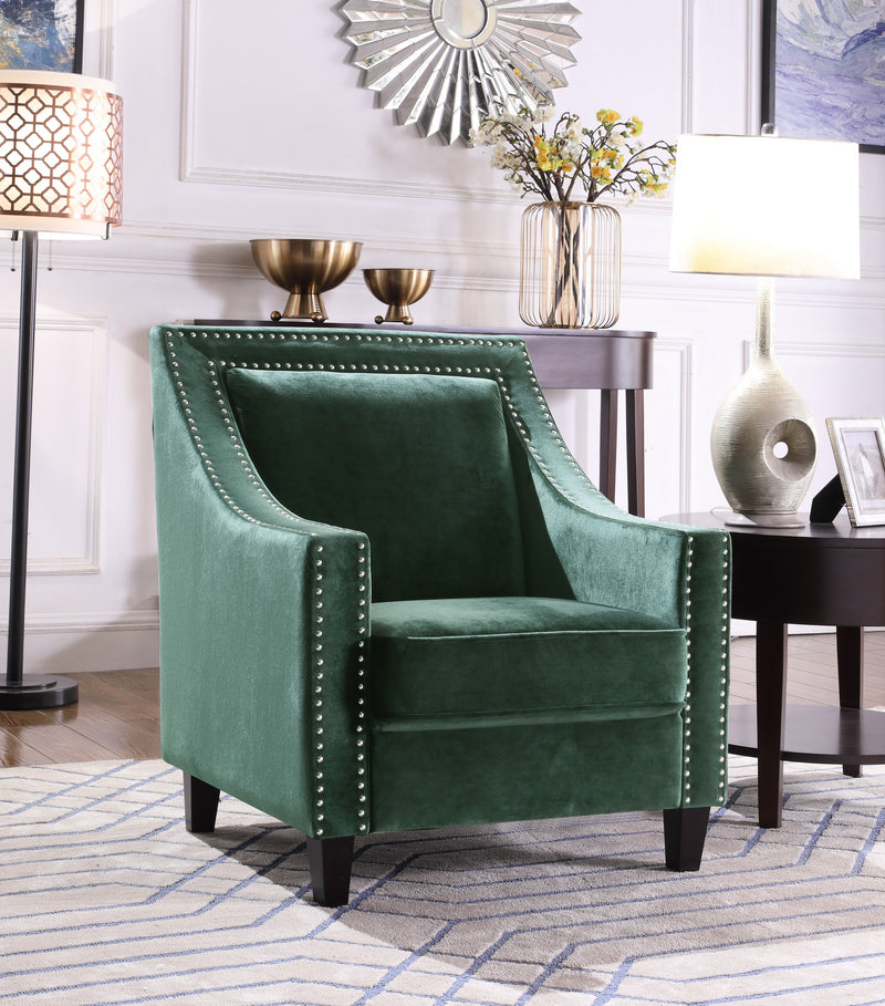 Iconic Home Camren Camero Kam Kameron Keros Accent Chair Velvet Upholstered Nailhead Trim Tapered Espresso Wood Legs Green Main Image
