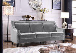 Iconic Home Camren Camero Kam Kameron Keros Sofa Velvet Upholstered Swood Arm Nailhead Trim Tapered Espresso Wood Legs Grey Main Image