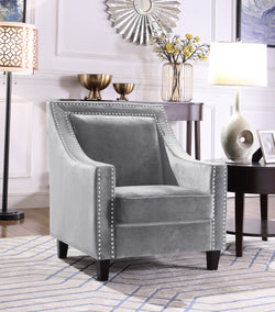 Iconic Home Camren Camero Kam Kameron Keros Accent Chair Velvet Upholstered Nailhead Trim Tapered Espresso Wood Legs Grey Main Image