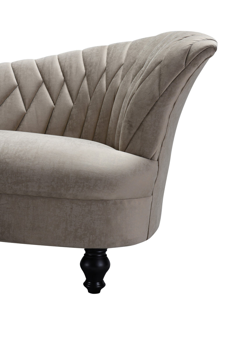 Iconic Home Mont Blanc Kidney Sofa Velvet Upholstered Flared Shelter Arms Turned Wood Legs Taupe